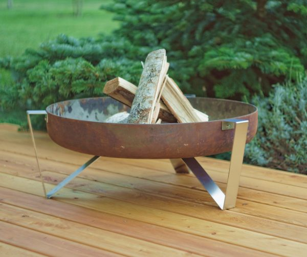 Etna fire pit - 63cm diameter rusting steel bowl on stainless steel legs