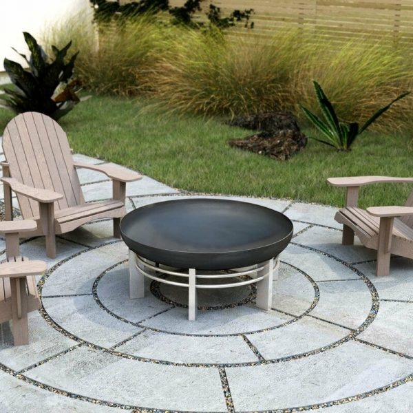 79cm diameter solid steel fire pit Ura - stainless or rusting steel bowl and stainless steel legs