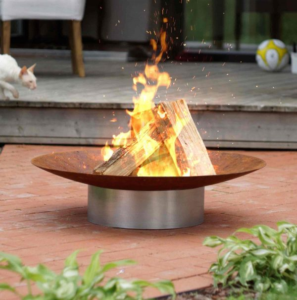 Hestia fire pit - rusting bowl on stainless steel base