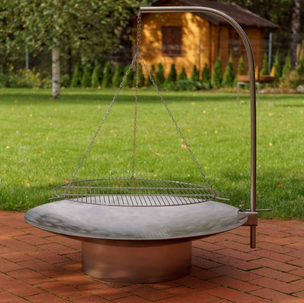 Hestia Stainless Steel Firepit with Barbecue Grill