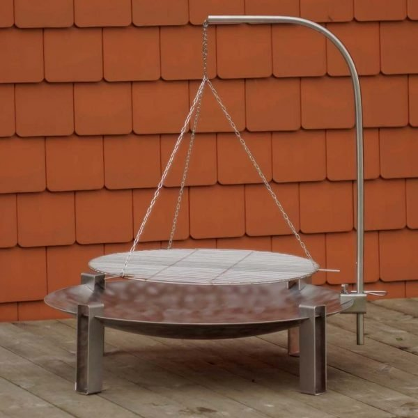 Maar Stainless Steel Firepit can be bought together with hanging barbecue grill