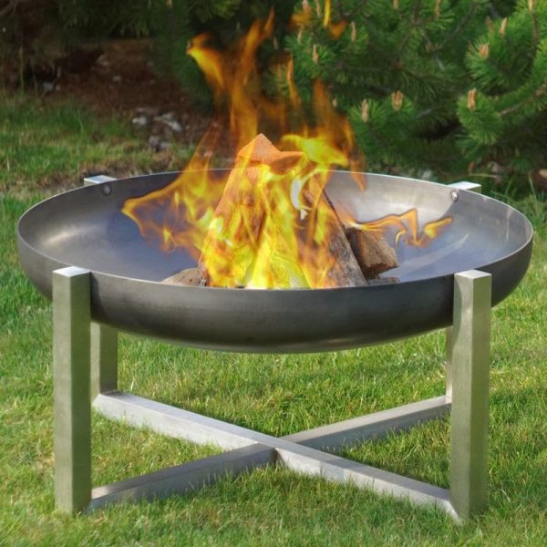 Contemporary design fire pit that is available fully stainless steel or with rusting bowl