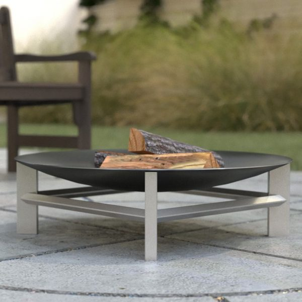 Loulon fire pit - 80cm diameter rusting or stainless steel bowl on stainless steel legs