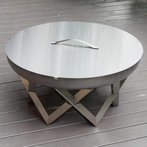 Stainless steel fire pit Awen with stainless steel lid - large